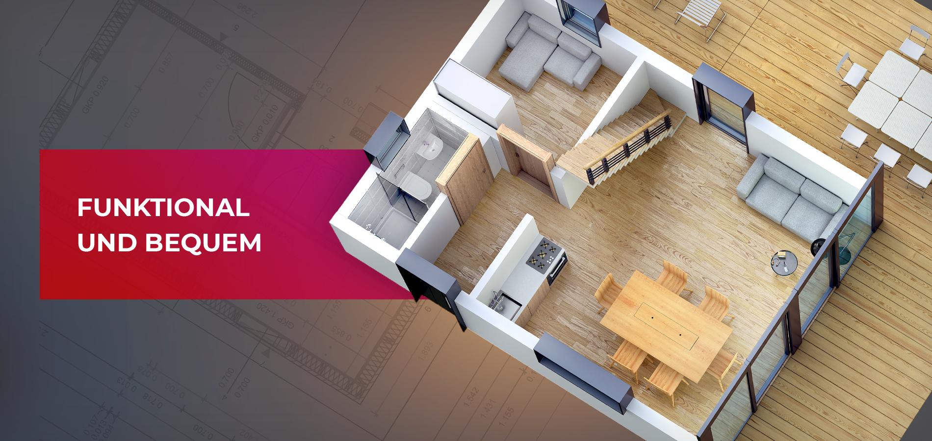 Holzhäuser, komfortabel und funktional
